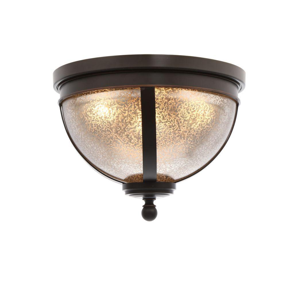 Sfera 14.5 in. W. 3-Light Autumn Bronze Ceiling Flushmount with Mercury Glass