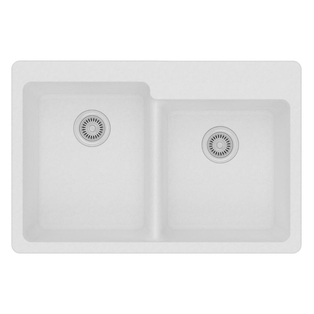 Elkay Quartz Classic Drop-In Composite 33 in. Square Offset Double Bowl Kitchen Sink in White