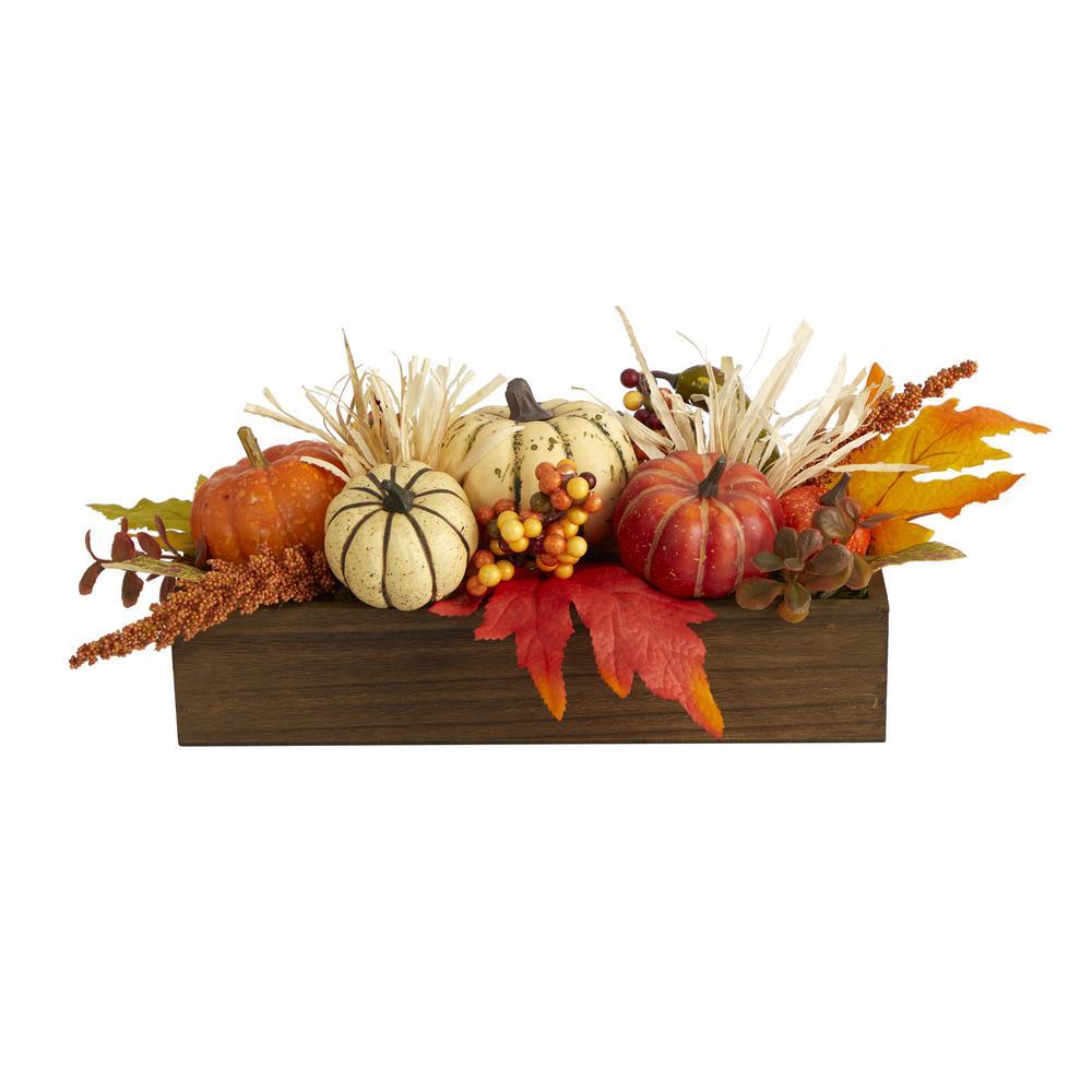5 in. Tall Orange Harvest Pumpkin and Berries Artificial Arrangement in Wood Vase