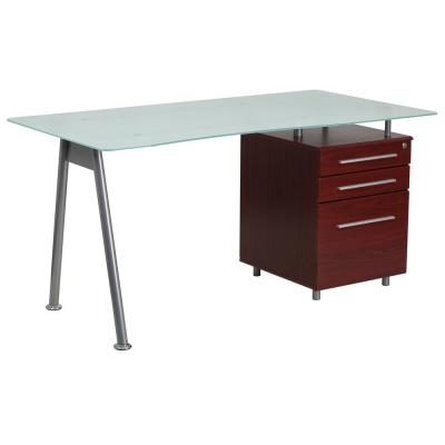 59 in. Rectangular Frosted Top/Mahogany 3 Drawer Computer Desk with File Storage