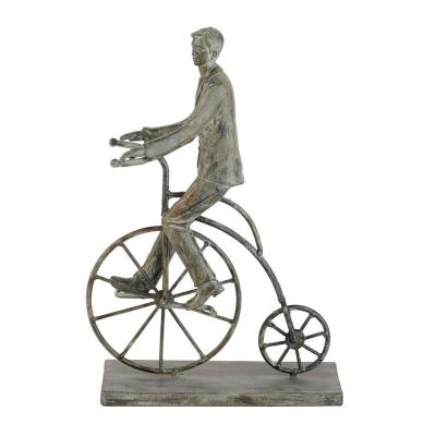 Litton Lane Polystone Vintage Bicycle Rider With Distressed Grey Finish, 9 in. x 13 in.