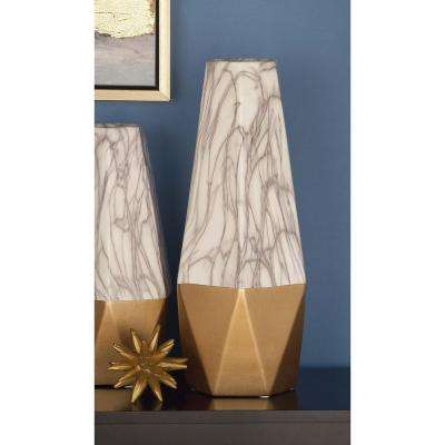 18 in. Gold and White Marble Paneled Decorative Vase