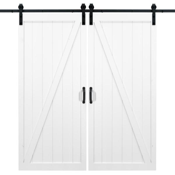 36 in. x 84 in. Classic Z White Double Sliding Barn Door with Hardware Kit