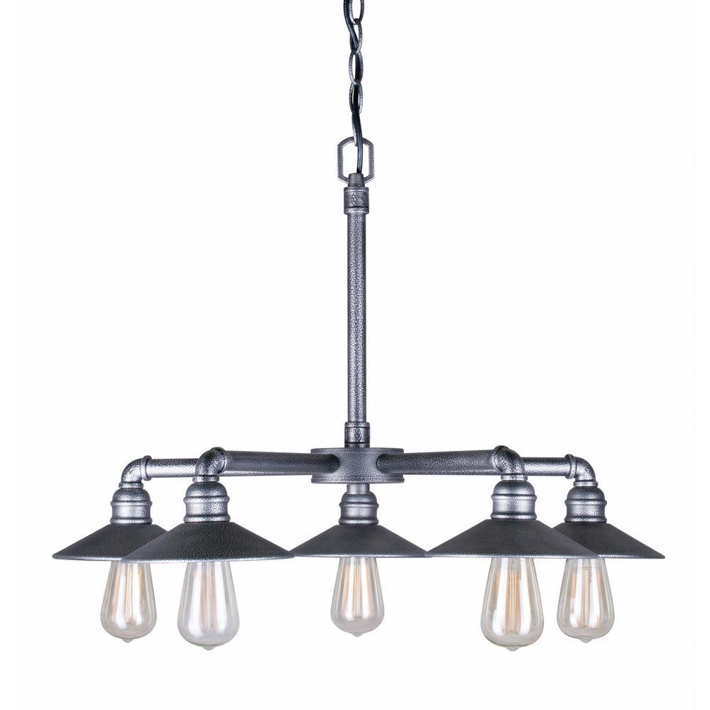 5 -Light Industrial Gray Chandelier