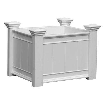 Barcelona 27 in. x 21 in. White Vinyl Planter Box