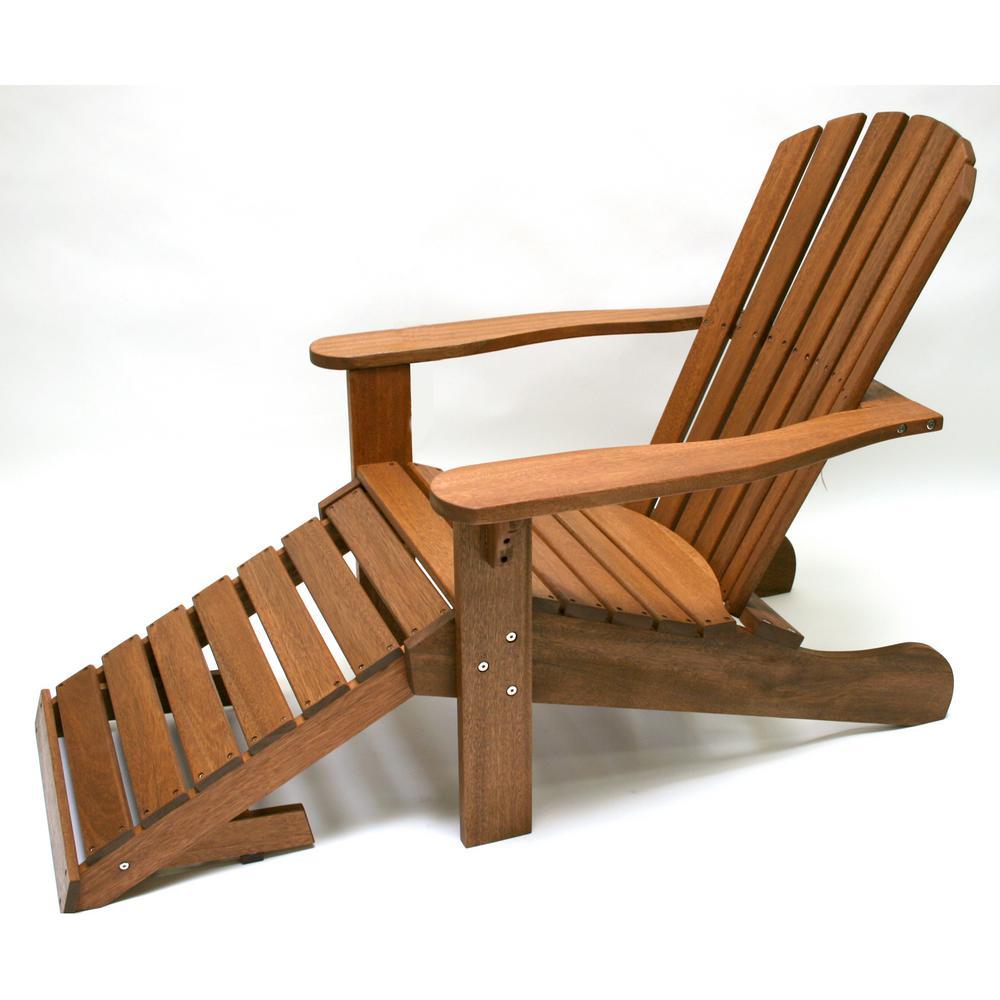 Eucalyptus Adirondack Chair with Built-in Ottoman