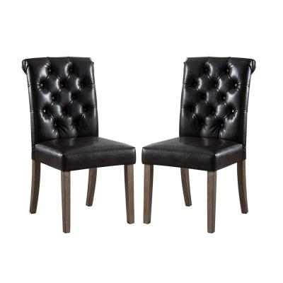 Valence Black Synthetic Leather Button Tufting Dining Accent Chair Set of 2