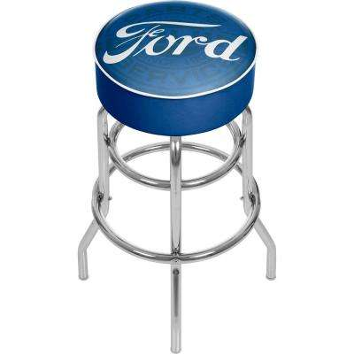 Genuine Parts 31 in. Chrome Swivel Cushioned Bar Stool