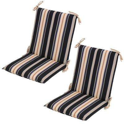 Caprice Stripe Mid Back Outdoor Dining Chair Cushion (2 Pack)