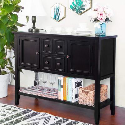 Espresso Charlotte Sideboard Console Table with 4-Storage Drawers and Bottom Shelf