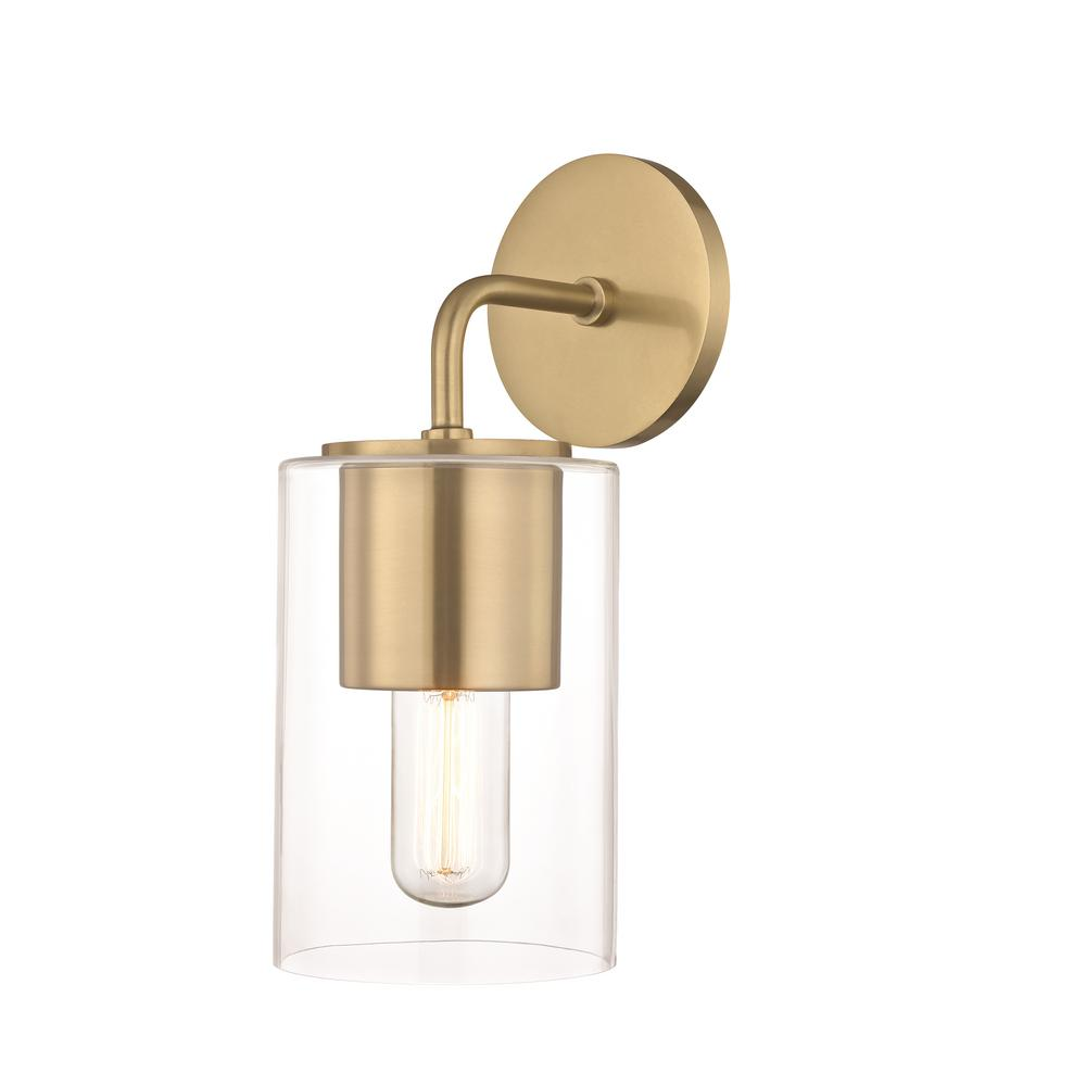 Lula 1-Light Aged Brass Wall Sconce with Clear Glass