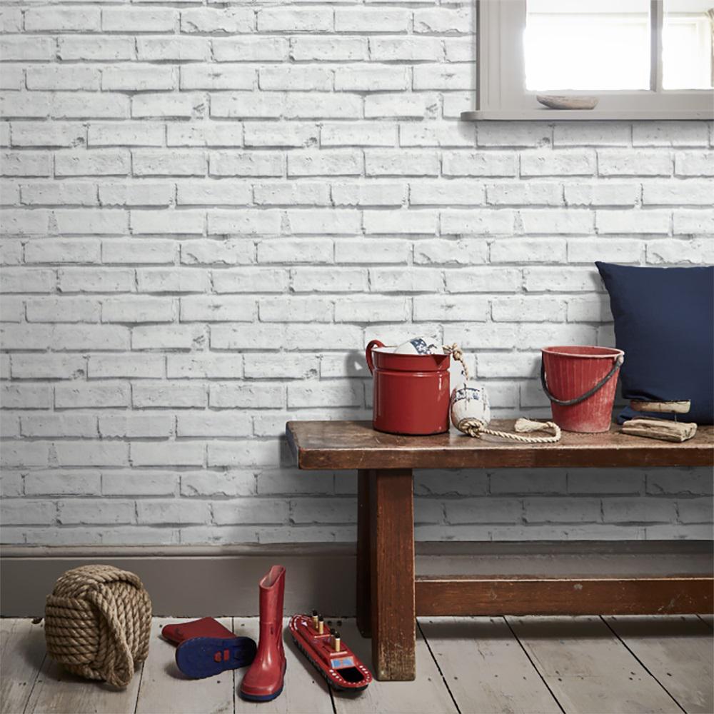 Arthouse White Brick Effect Unpasted Wallcovering