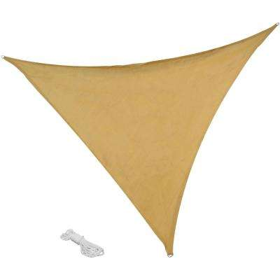 16 ft. x 16 ft. Beige Triangle Sun Shade Sail for Patio, Lawn and Garden