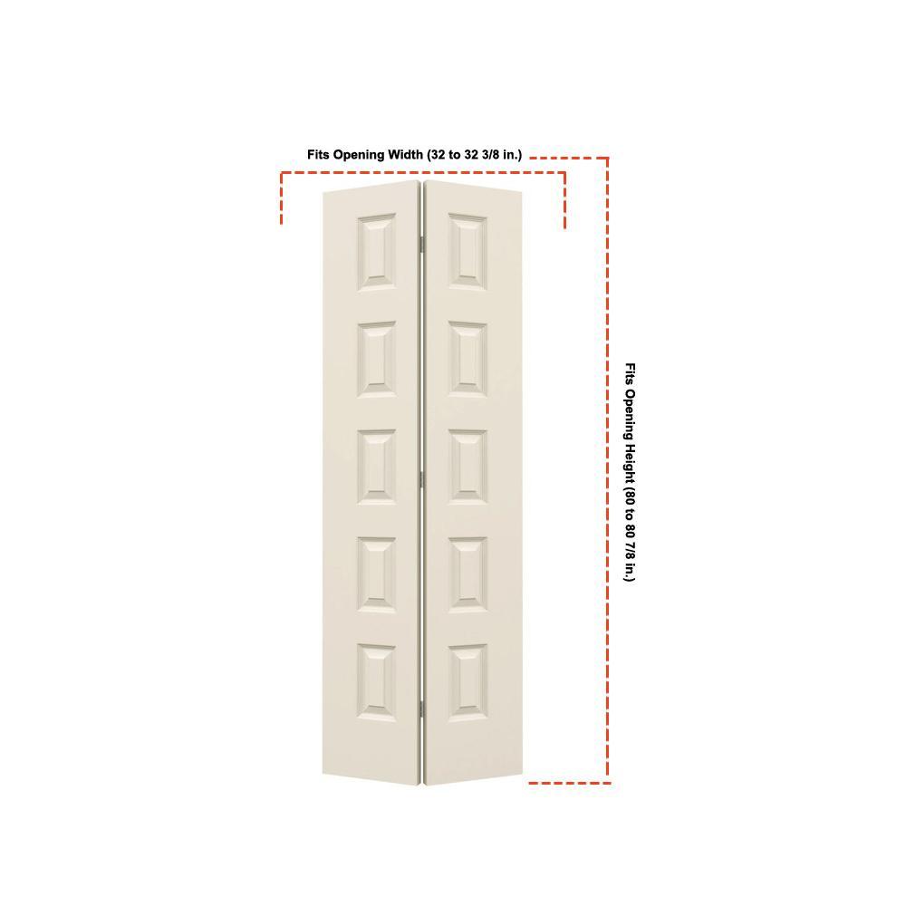 32 in. x 80 in. Rockport Primed Smooth Molded Composite MDF Closet Bi-Fold Door