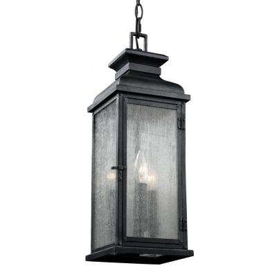 Pediment 7 in. W. 2-Light Dark Weathered Zinc Outdoor Pendant with Clear Seeded Glass