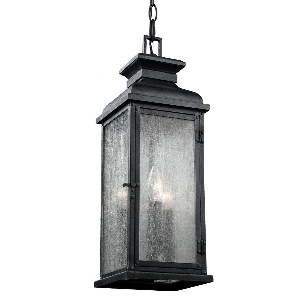 Feiss Pediment 7 in. W. 2-Light Dark Weathered Zinc Outdoor 20.5 in. Pendant with Clear Seeded Glass
