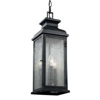 Pediment 7 in. W. 2-Light Dark Weathered Zinc Outdoor 20.5 in. Pendant with Clear Seeded Glass