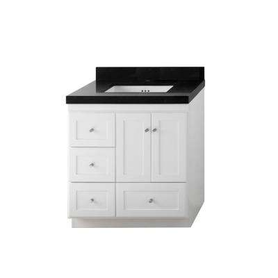 W Vanity In White With Quartz Vanity Top In Black With White