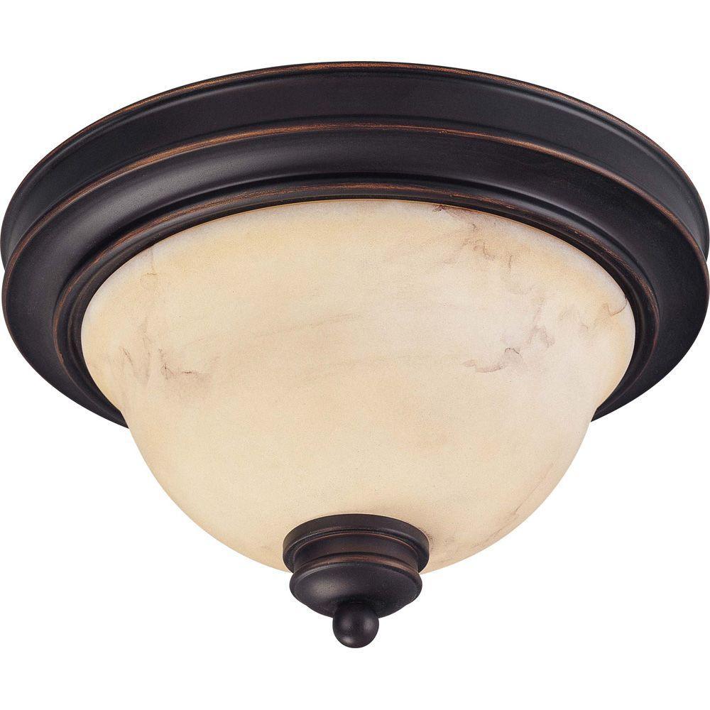 2-Light Copper Espresso Flushmount with Honey Glass