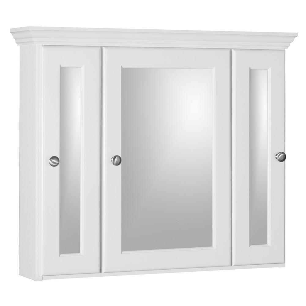 Ultraline 30 in. W x 27 in. H x 6-1/2 in. D Framed Tri-View Surface-Mount Bathroom Medicine Cabinet in Satin White