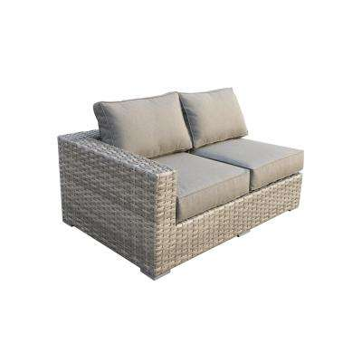 Bali Patio Wicker Right Arm Outdoor Sectional Chair with Olefin Charcoal Grey Cushion