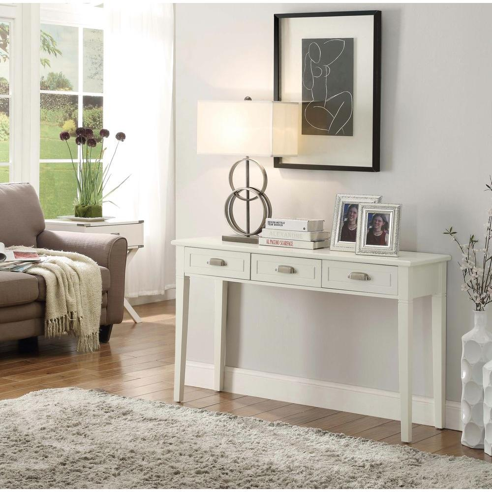 home decorators collection amelia 3drawer white wooden console table