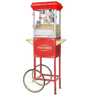 Red 850 W 8 oz. Red Carnival Popcorn Popper Machine with Cart