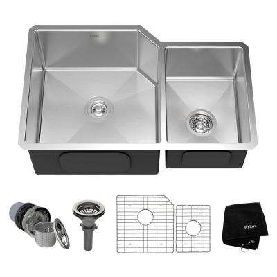 Undermount Stainless Steel 32 in. Double Bowl Kitchen Sink Kit
