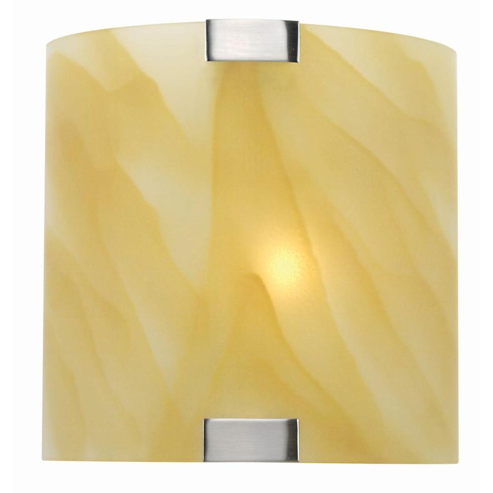 Illumine Designer Collection 1-Light Steel Sconce with Amber Glass