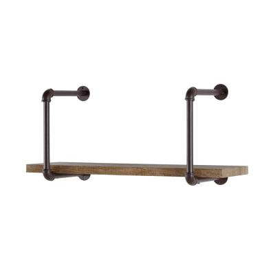 Urbanne Industrial Aged Wood Print MDF and Metal Pipe Floating Wall Shelf