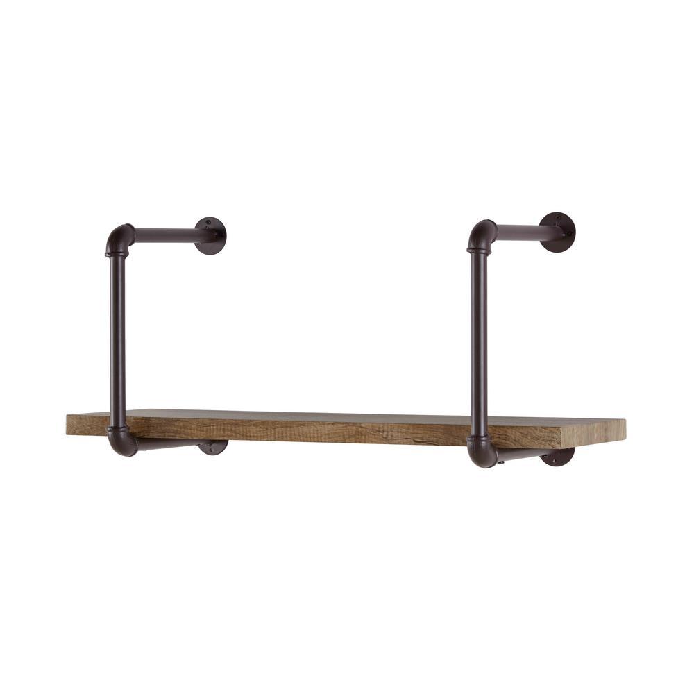 DANYA B Urbanne Industrial Aged Wood Print MDF and Metal Pipe Floating Wall Shelf