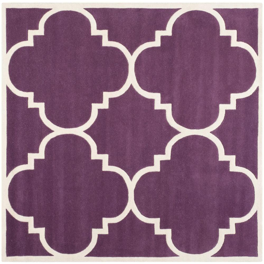 Safavieh Chatham Purple/Ivory 8 ft. 9 in. x 8 ft. 9 in. Square Area Rug