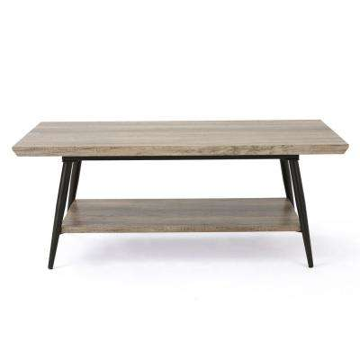 Canyon Gray Wood and Metal Coffee Table with Shelf