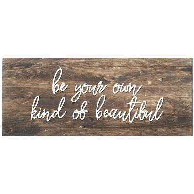 Be your Own Beautiful Slat Board, BROWN/WHITE LETTERS, Memo Board