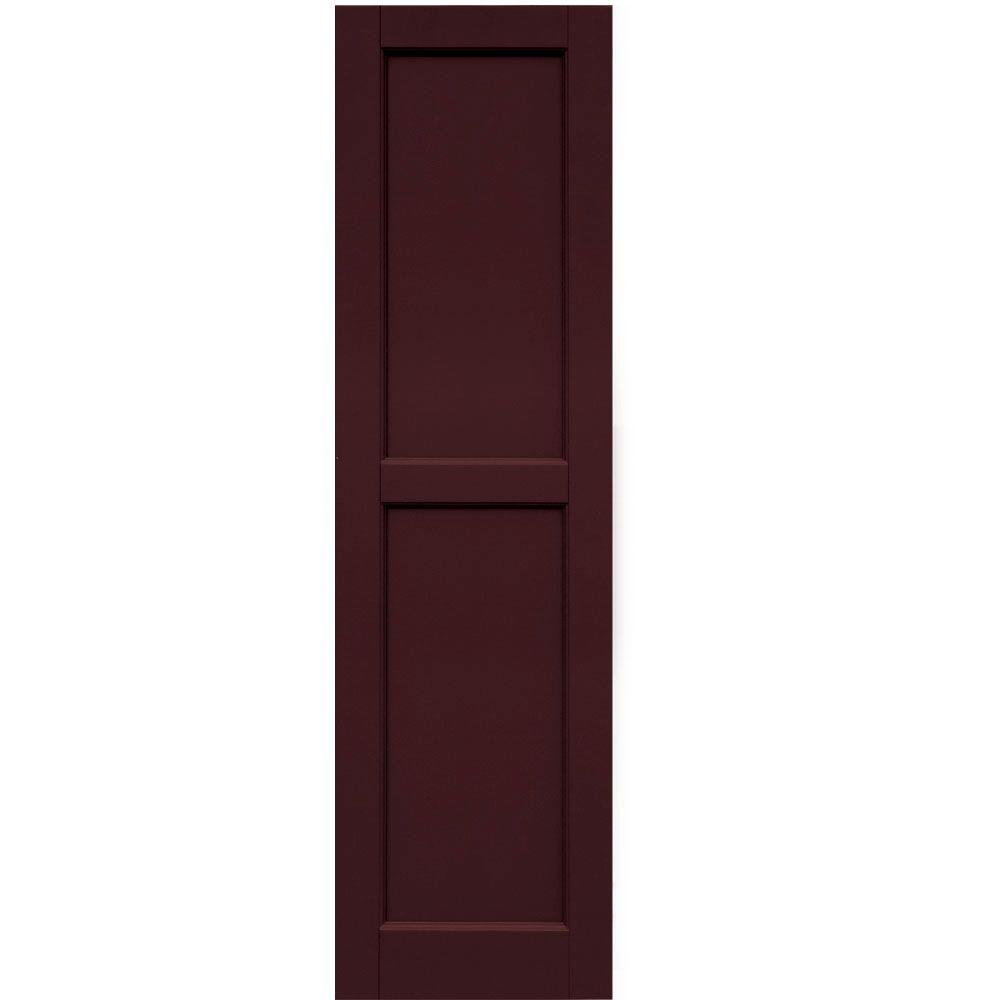 Winworks Wood Composite 15 in. x 54 in. Contemporary Flat Panel Shutters Pair #657 Polished Mahogany