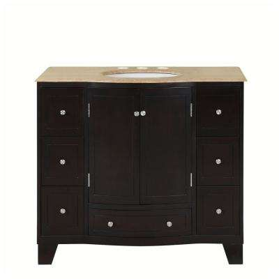 40 in. W x 22 in. D Vanity in Dark Espresso with Stone Vanity Top in Travertine with White Basin