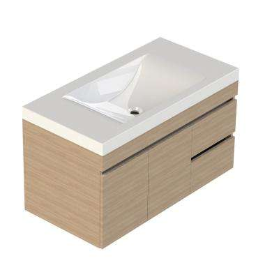 Viteli + Siena 37 in. W x 19 in. D Vanity in Latte with Cultured Marble Vanity Top in White with White Basin
