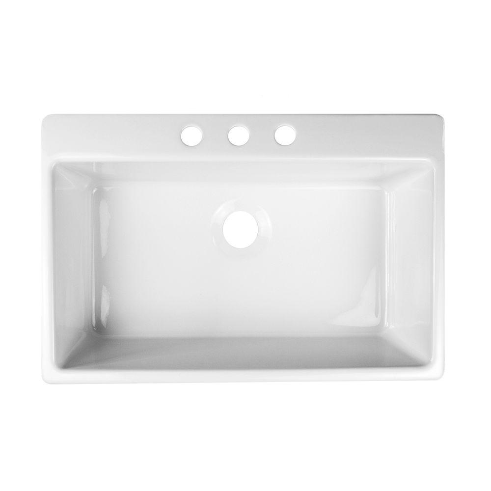 Lyons Industries Essence Drop-In Acrylic 33x22x9 in. 3-Hole Single Basin Kitchen Sink in White