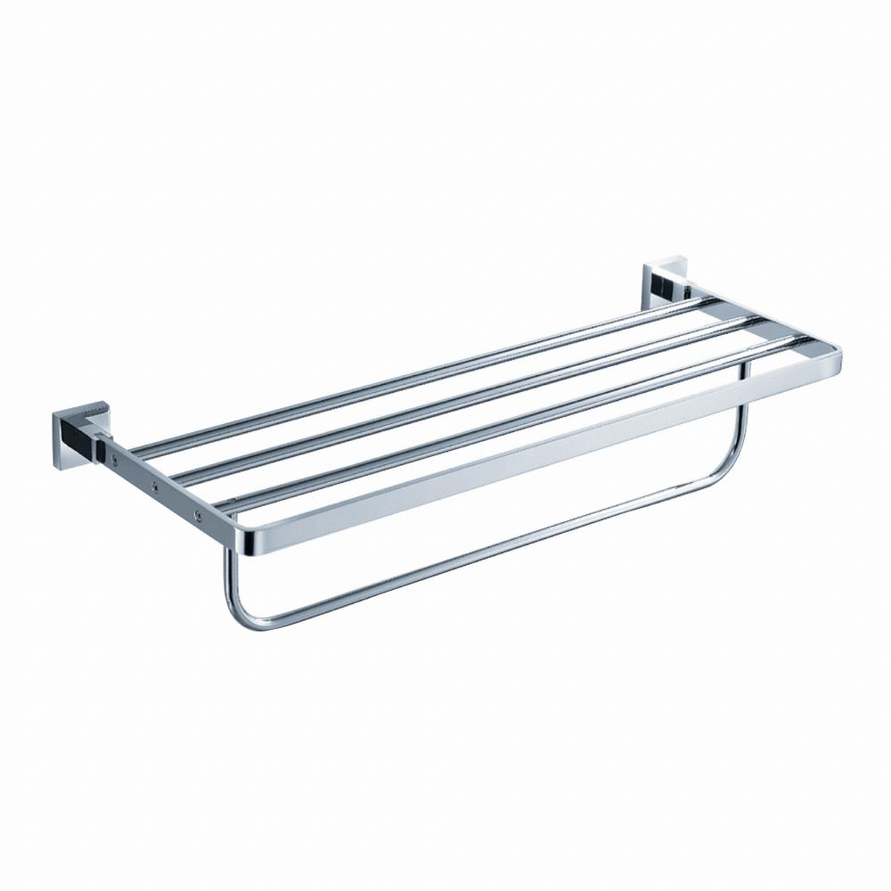 Aura Bathroom Towel Rack with Towel Bar in Chrome