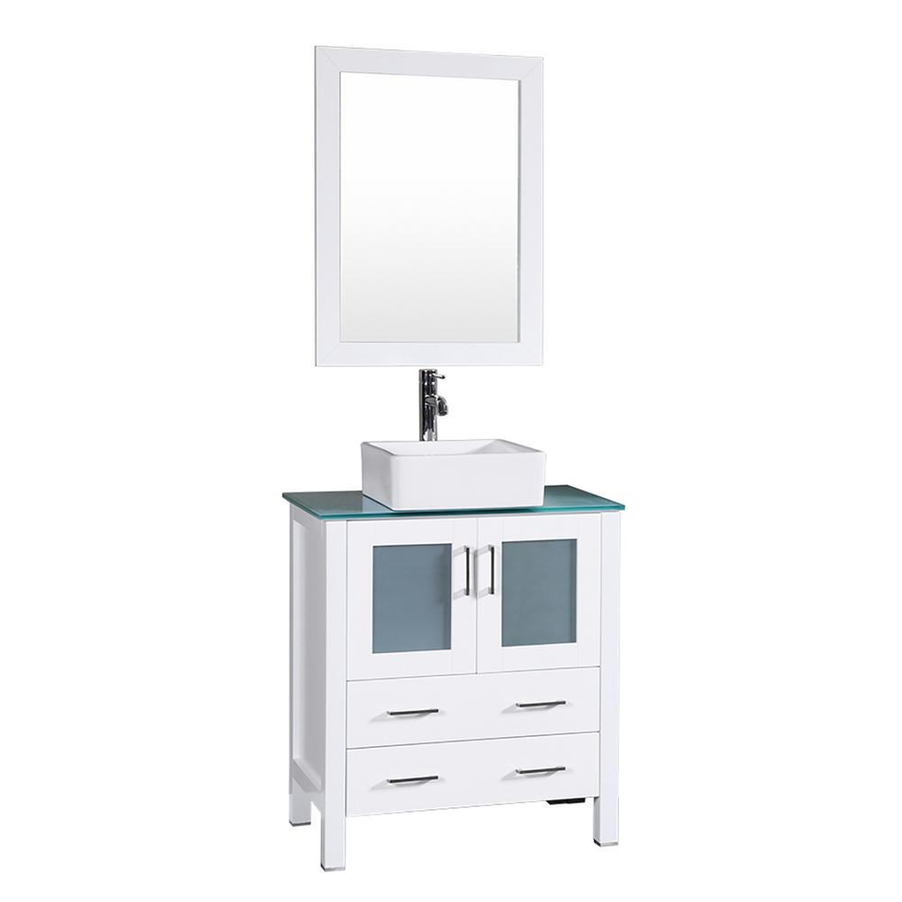 30 in. W Single Bath Vanity in White with Tempered Glass