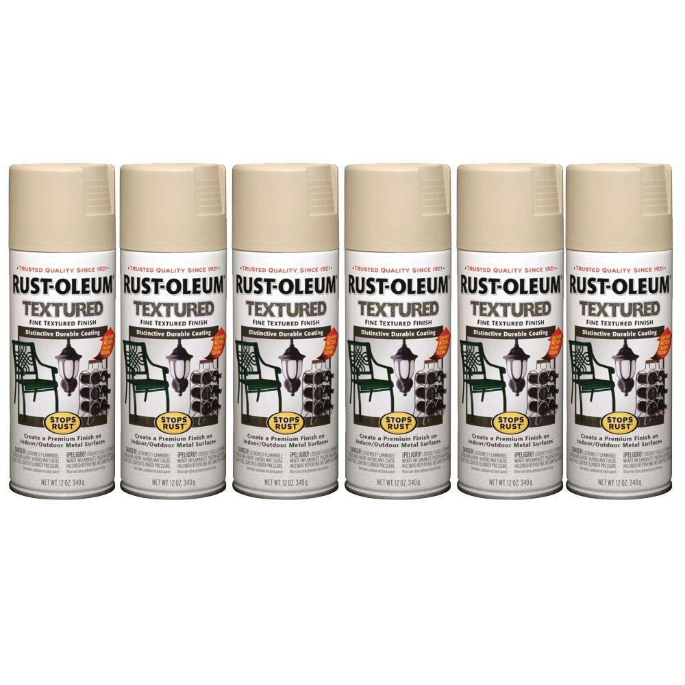 Rust-Oleum Stops Rust 12 oz. Semi-Gloss Sandstone Textured Spray Paint (6-Pack)-DISCONTINUED