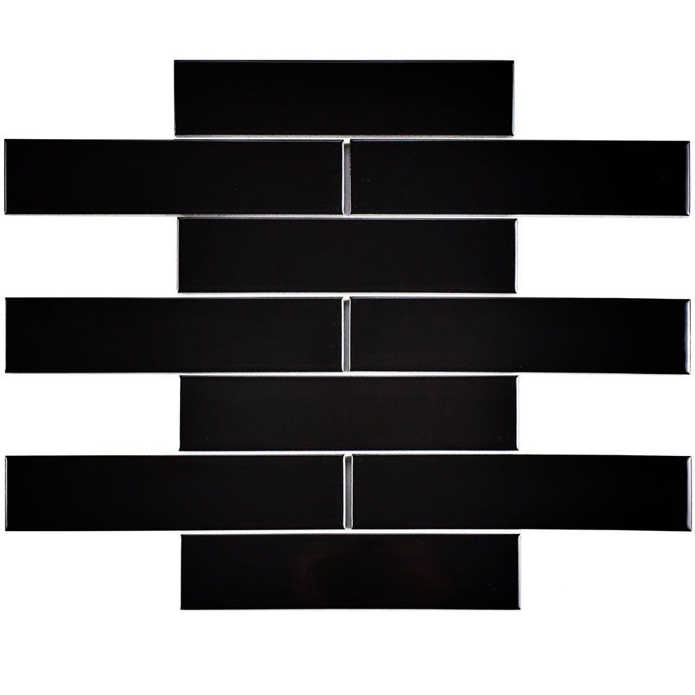 Merola Tile Metro Soho Subway Glossy Black 1 3 4 In X 7 3