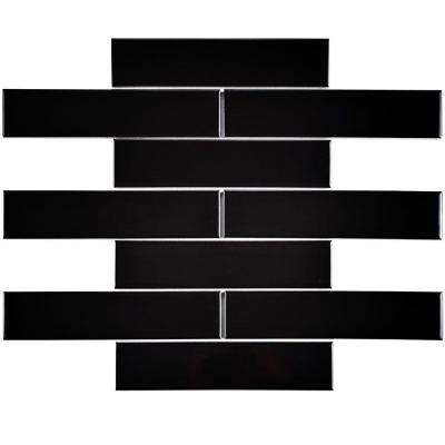 Metro Soho Subway Glossy Black 1-3/4 in. x 7-3/4 in. Porcelain Floor and Wall Tile (1 sq. ft. / pack)