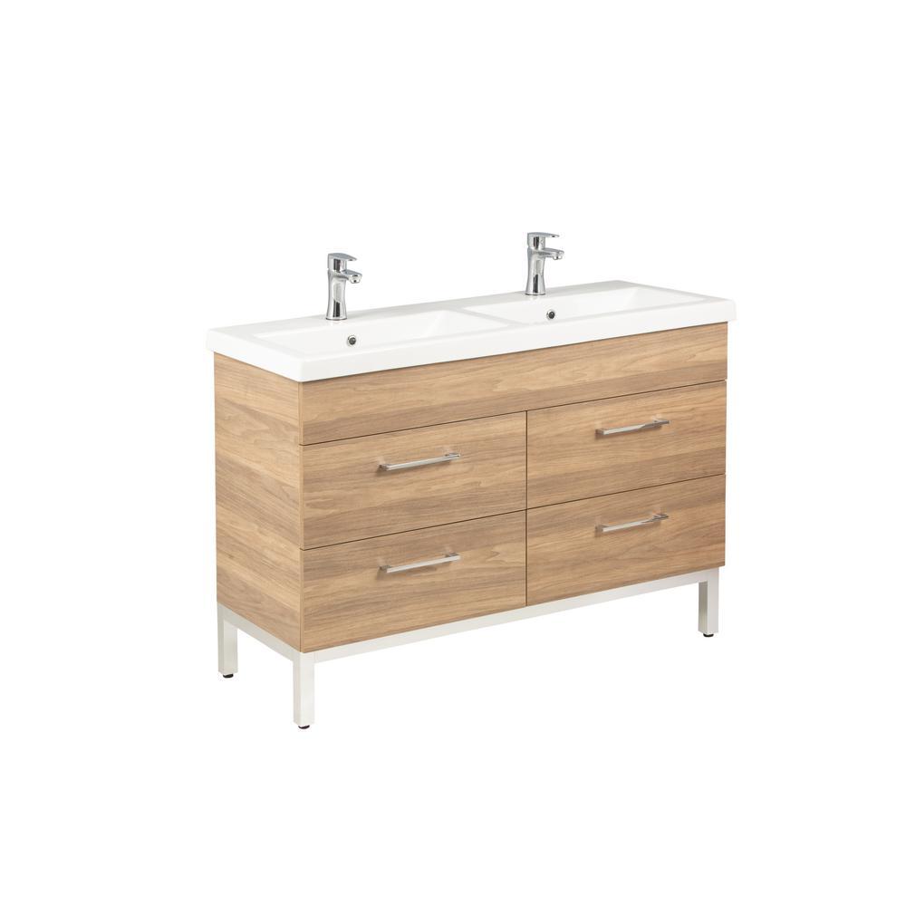 Infinity 48 in. W x 18 in. D Double Bath Vanity in Oregon Ash with Ceramic Vanity Top in White