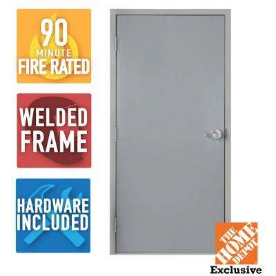 36 in. x 84 in. Fire-Rated Gray Right-Hand Flush Entrance Steel Prehung Commercial Door with Welded Frame and Hardware