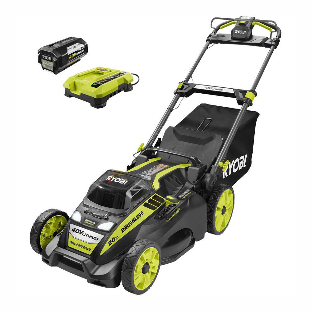 RYOBI 20 in. 40-Volt Brushless Lithium-Ion Cordless Self-Propelled Walk Behind Mower with 5.0 Ah Battery/Charger Included