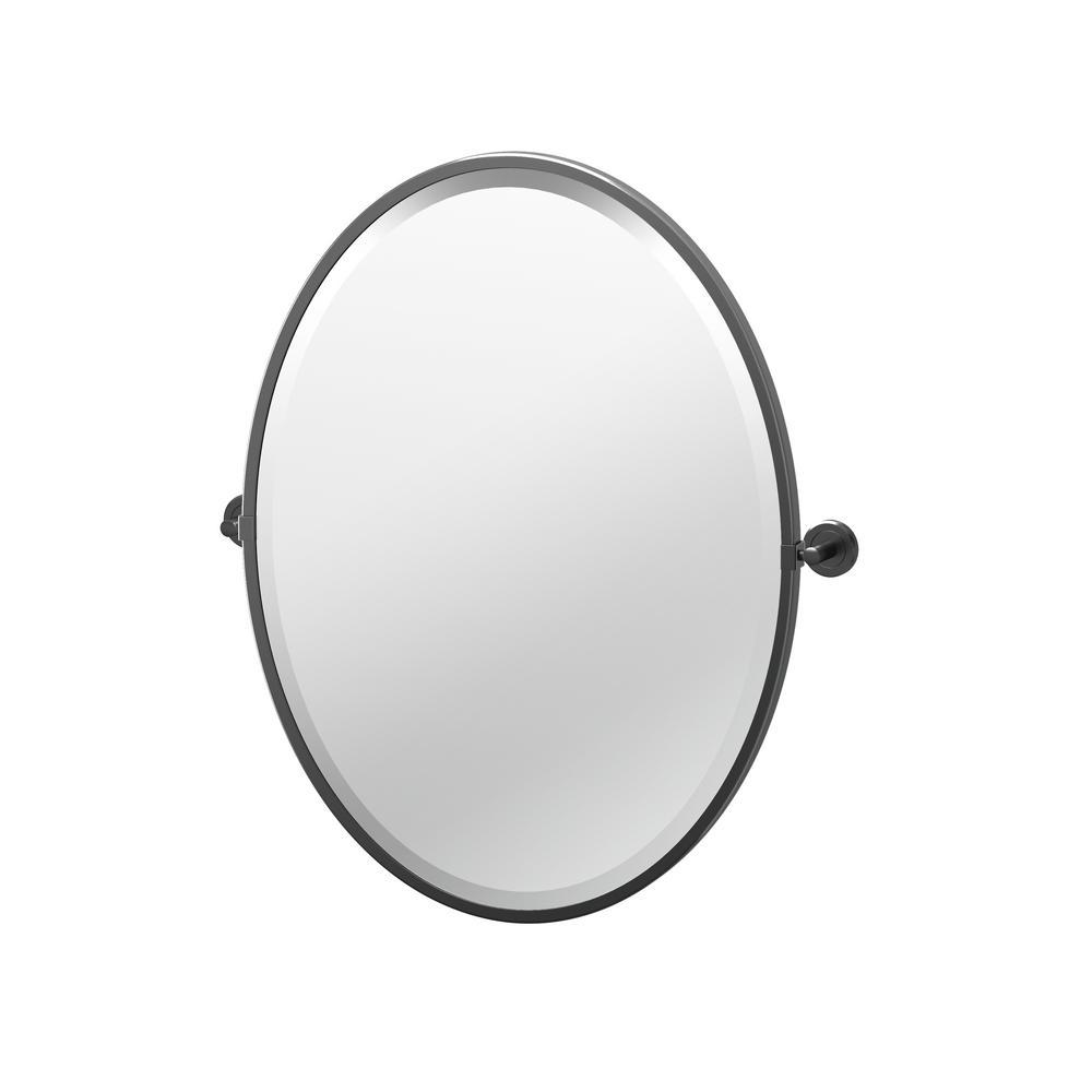 Latitude II 23.63 in. x 27.5 in. Framed Oval Mirror in Matte Black