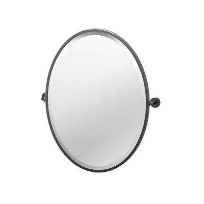 Latitude II 23.63 in. x 27.5 in. Framed Oval Mirror in Matte Black