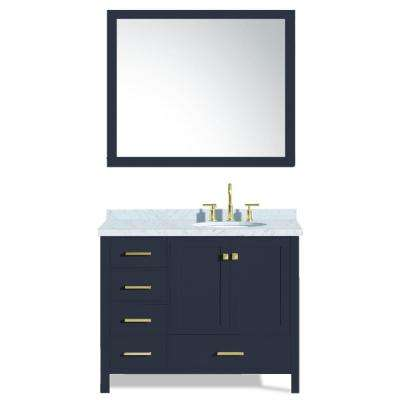 Cambridge 43 in. W x 22 in. D Vanity in Midnight Blue with Marble Top in Carrara White with White Basin and Mirror