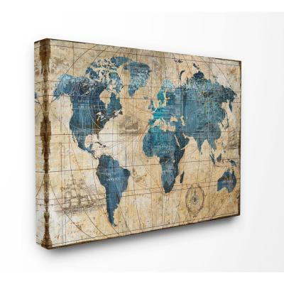"36 in. x 48 in. ""Vintage Abstract World Map"" by Art Licensing Studio Canvas Wall Art"